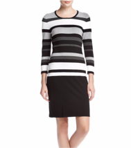 NWT CALVIN KLEIN GRAY BLACK STRIPED RAYON KNIT SHEATH DRESS SIZE L $119 - $30.60
