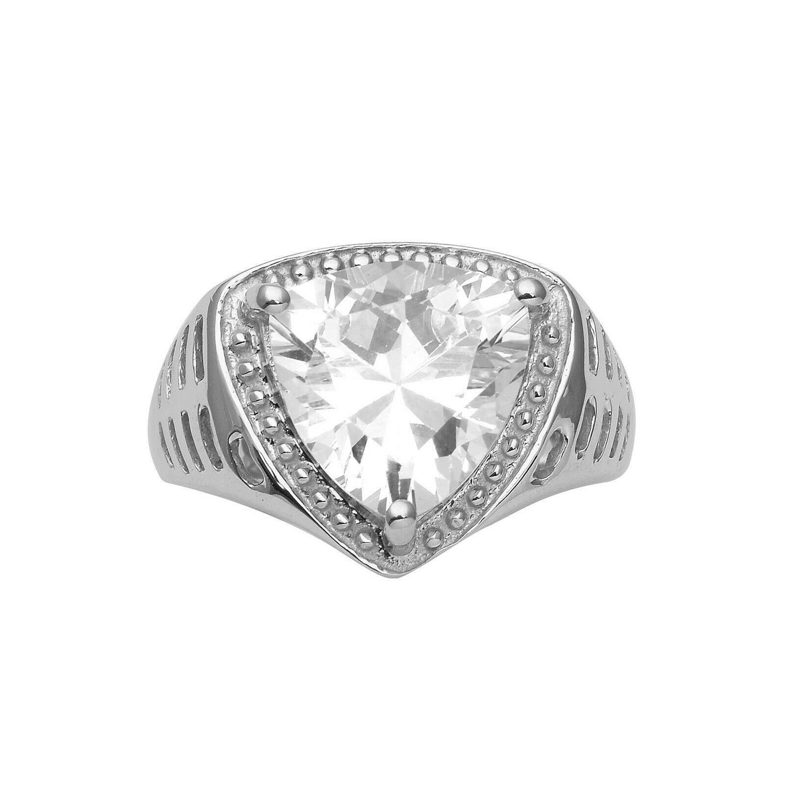 925 Fine Silver Trillion Shape White Cubic Zircon Solitaire Engagement Ring