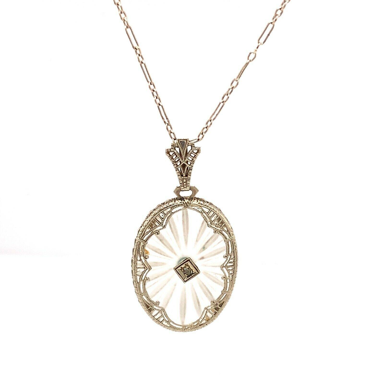 14k White Gold Filigree Genuine Natural Crystal Quartz Diamond Pendant (#J4883) - $519.75