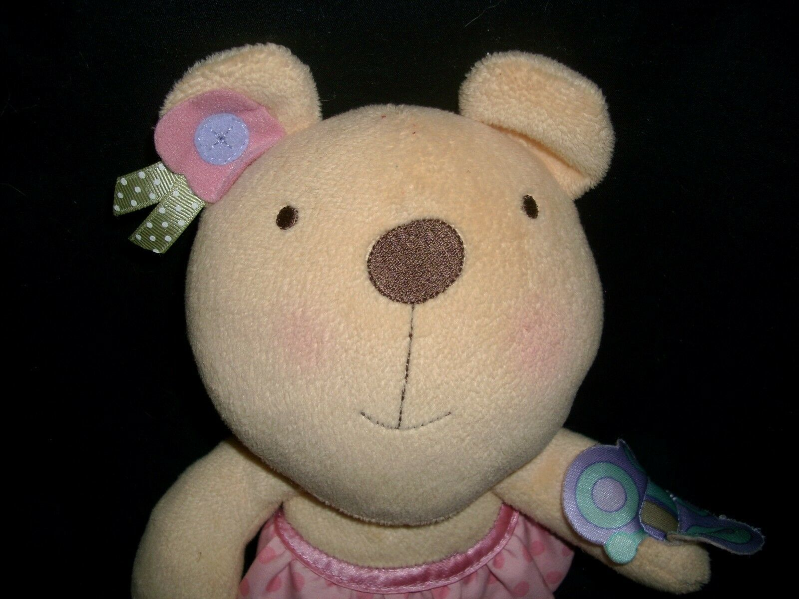 FISHER PRICE 2009 TEDDY BEAR R6794 CLUTCH CHIME RATTLE STUFFED ANIMAL PLUSH TOY image 2
