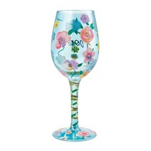 """Hope """"Designs by Lolita"""" Wine Glass 15 o.z. 9"""" Gift Boxed Blue Decorated Flowers image 2"""
