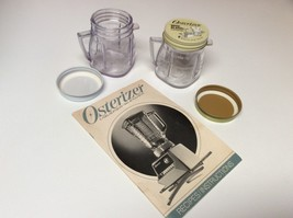 2 Osterizer Mini Blend Container Storage Jars, Lids, Instructions Bookle... - $10.00