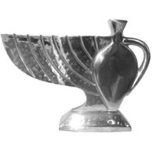 Judaica Hanukkah Menorah Hammered Silver Tone Aluminum Oil Jug Pattern Hanukkiah