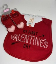 Just One You My First Valentines Day Bib Red And Carter's Newborn Baby H... - $11.75