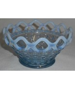 Imperial Glass LACE EDGE - BLUE OPALESCENT Button & Cane CANDY BOWL - $15.83