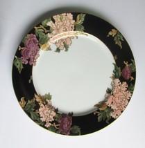 Fitz & Floyd Fine China Cloisonne Peony Black Dinner Plates Mint - $26.72