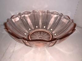 "Anchor Hocking Pink Depression Oyster & Pearl Deep Fruit Bowl 10 1/2"" - $20.00"
