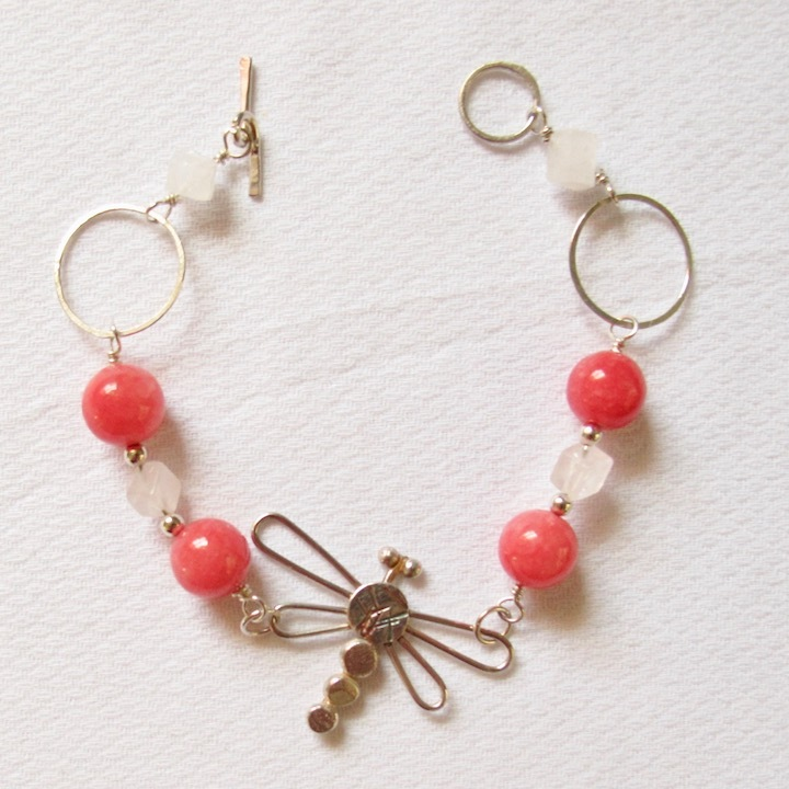 Sterling Silver Dragonfly Bracelet with Pink Quartz beads and Rose Quartz cubes