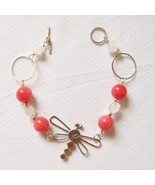 Sterling Silver Dragonfly Bracelet with Pink Quartz beads and Rose Quart... - $50.00