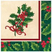 Boughs of Holly 16 ct Luncheon Lunch Napkins Christmas Party - £2.88 GBP