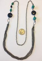 Vintage extra long 4 strand black onyx and glass stones beaded gun metal chain n - $9.00