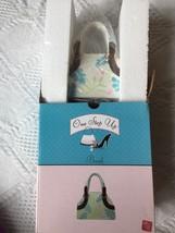 Russ Berrie One Step Up Ceramic Bank Fashion Handbag Purse Detailed w/ P... - $16.47