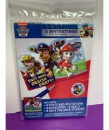 8 Invitations Envelopes Seals Save the Date Stickers Paw Patrol NEW Party - $9.89