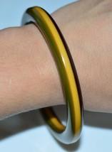 VTG Butterscotch Yellow Brown Green Layered BAKELITE Tested Bangle Bracelet - $123.75