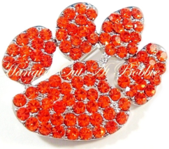 Paw Pin Brooch Orange Crystal Pave Cat Dog Animal Theme Silver Tone Metal - $24.99