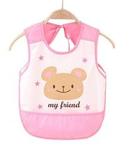 Waterproof Breathable Baby Bib Overclothes Painting Smock Apron Sleeveless Pink
