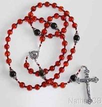 Important Catholic Rosary Rosenkranz Genuine Cognac Baltic Amber & Sterl... - $282.15