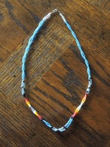 Navajo Glass Seed Bead Choker with Blue and Assorted Colors - $13.06
