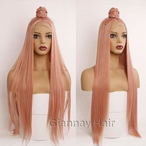 Giannay Hair Orange Pink Wigs Silky Long Straight Lace Front Wigs Peach ... - $41.75
