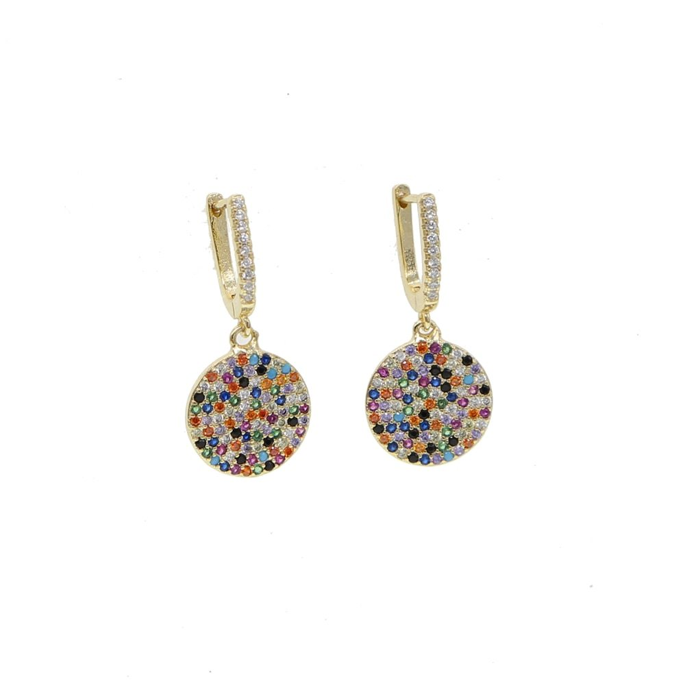 2019 top quality mix cz round shape drop earring for woman wedding banquet hoop rainbow colorful
