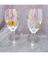 "5"" Flute Glass, Gold Trim Etched FLowers - $20.00"