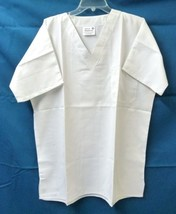 White Scrub Top V Neck Medium Unisex BodyGardz One Chest Pocket Microfib... - $19.37