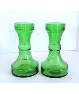 Blown Glass Candlestick Holders Green Made in Italy Beautiful Vintage - ... - $29.99