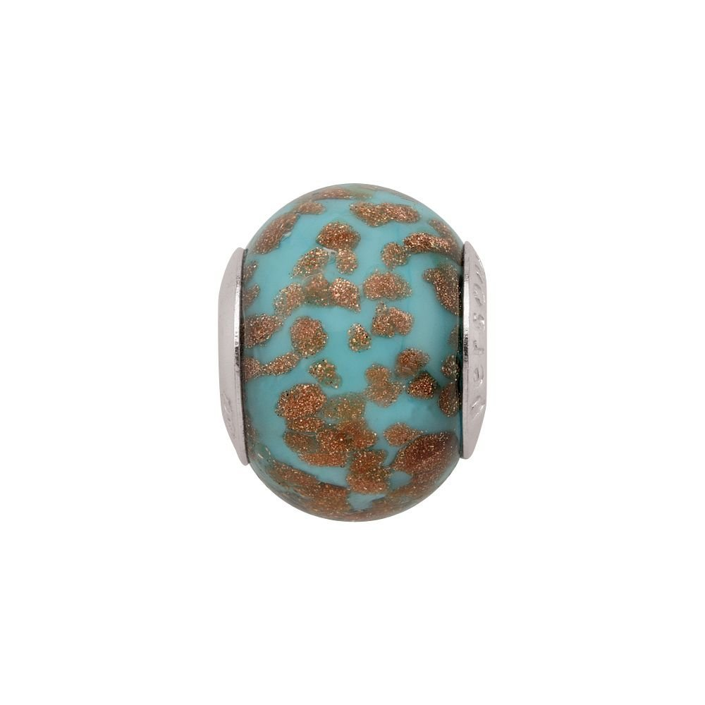 Persona Italian Glass Tropical Blue Fiery Copper Charm fits Pandora, Troll & Cha