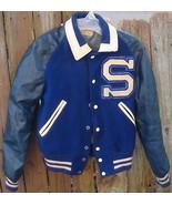 Blue Sports High School Letter Athletic Jacket Wool Vintage - $24.99