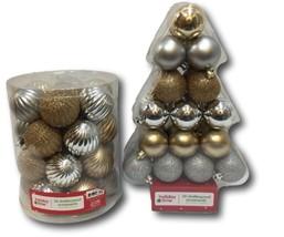 Christmas Ornament Balls Gold & Silver 56 Piece NOS Shatter Proof Glitte... - $24.74