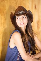 TX-150 Chocolate COWBOY HAT MATCHING HEART Hat BELT RHINESTONE TRIM One ... - $46.74