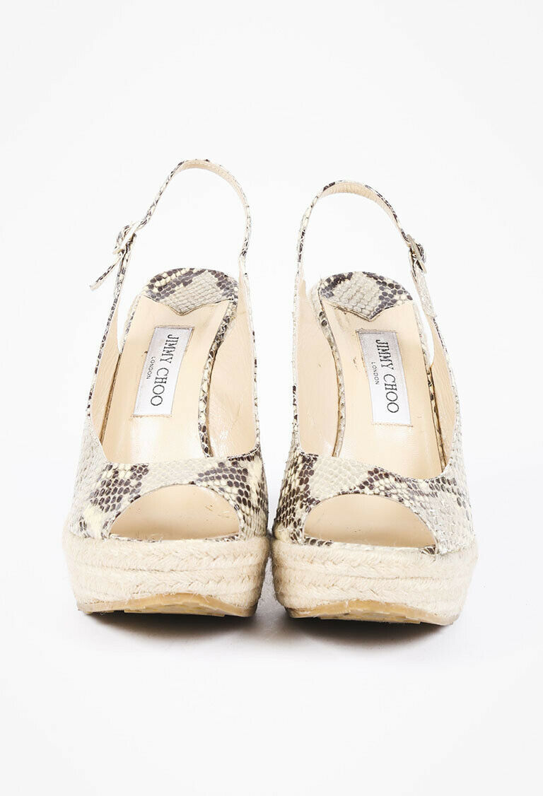 Jimmy Choo Polar Snakeskin Espadrille Sandals SZ 40 image 2
