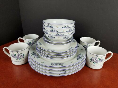 Dinnerware Farberware Hydrangea dinner salad dessert plates bowls mugs saucers  - $60.00