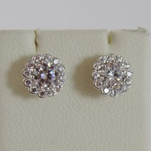 18K WHITE GOLD 7 MM FLOWER SUN EARRINGS WHITE ZIRCONIA 1.3 CARATS MADE IN ITALY image 2