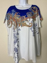 Zenergy By Chico's Womens Size 2 Paisley Pattern Tunic Blouse Cap Sleeve - $19.80