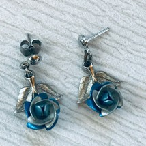Vintage Small Blue & Silvertone Dimensional Rose Flower Dangle Post Earrings for - $8.59