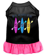 Not All Who Wander Embroidered Dog Dress Black With Bright Pink Sm - $25.98