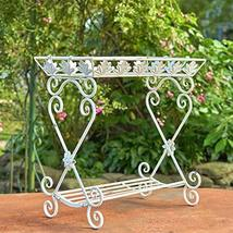 Two Tier Rectangular Plant Stand Tray Table (Antique White) - $114.95