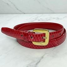 Charter Club Red Vintage Skinny Genuine Snake Skin Belt Size Large L 28 - $24.18