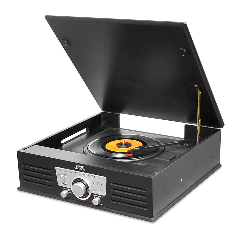 Pyle Bluetooth Classic Style Record Player Turntable with Vinyl to MP3 Recording