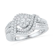10k White Gold Round Diamond Cluster Bridal Wedding Engagement Ring 3/4 Ctw - $684.00