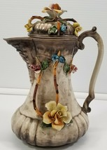 """VC) Vintage Capodimonte Rose Floral 8.5"""" Jug Vase With Lid Made in Italy - $14.84"""