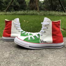 Italy Flag Hand Painted Shoes Original Design Canvas Sneakers Men Women Converse - $149.00