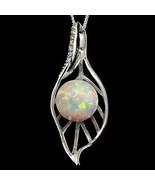 Alducchi Weiß Regenbogen Kunstdiamanten Feuer Opal - Cz Anhänger Silber ... - $43.95