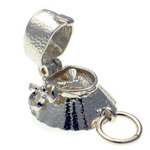 British Welded Bliss Sterling 925 Silver Charm Bee in Victorian Bonnet Hat Opens - $18.13