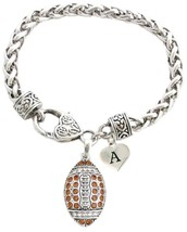 Custom Brown Crystal Football Bracelet Jewelry Choose Initial Charm All ... - $14.24