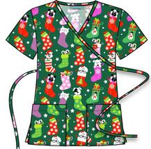 Women's Mock Wrap Christmas Holiday Print Scrub Top Tie Back - $16.82+