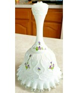 Vintage Fenton Silver Crest Bell Violets In The Snow Handpainted S Mullins - $45.82
