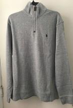 Polo Ralph Lauren Zippered Neck Sweater Men's Large 100% Cotton Gray Siz... - $45.99