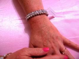 "Charter Club 6 3/4""silver toned  simulated two row pave  diamond bracele... - $12.47"